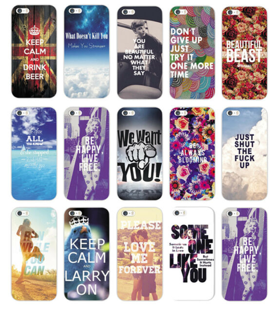 New Various Pattern Quote & Saying Hard Back Case Cover For iPhone 4S 5 5S 5C 6