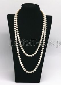 Genuine-7-8MM-Natural-White-Freshwater-Cultured-Pearl-Necklace-32-039-039-Long
