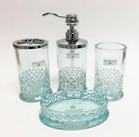 Hotel Balfour 4 Pc Set Clear Teal Blue Crystal Checker Glass Soap Dispenser+3