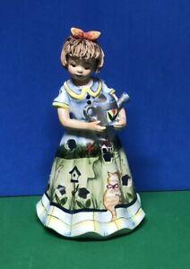 Ceramic Girl Figurine Painted Long Dress Watering Can Luminary Lantern Tealight