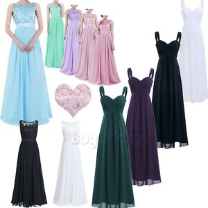 Women Lace Maxi Chiffon Bridesmaid Formal Party Long Evening Prom Wedding Dress