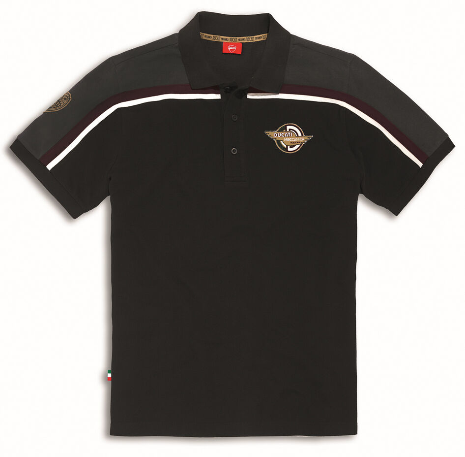 DUCATI MECCANICA kurzarm Polo T-Shirt Retro black grey NEU