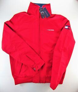 Tommy Hilfiger Men's Jacket XL XLarge Red Front Pockets Hood Full Zip