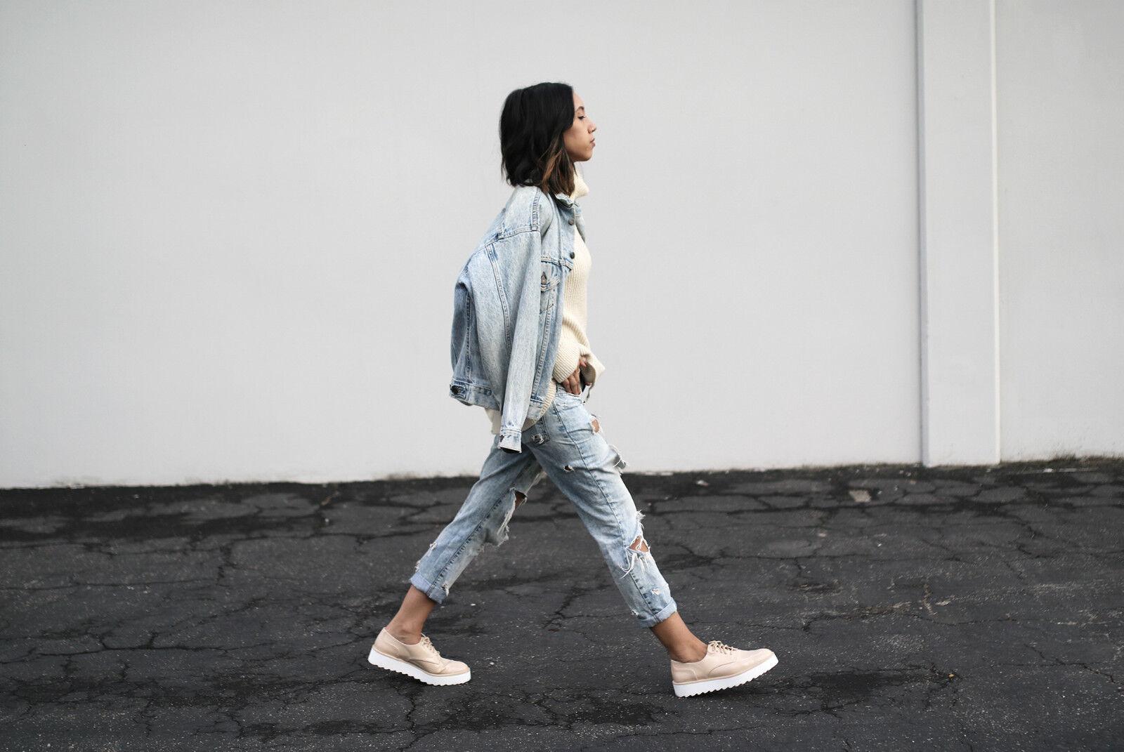 ZARA NUDE NUDE NUDE FLAT PLATFORM LACE-Up zapatos, Talla 41  más vendido