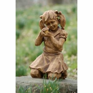 Solar Wood Effect Garden Statue Decoration 63cm #1C67 Girl with Firefly Statue