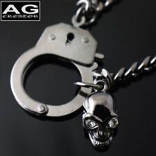 """Handcuff with skull dark gray fashion pendant 17"""" chain necklace"""