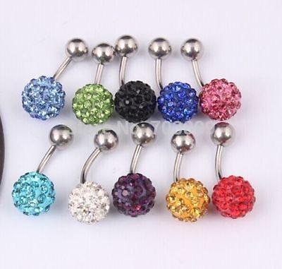 12mm Shamballa Belly Navel Bar Crystal Disco Ball SINGLE CRYSTAL Ball Ferido UK