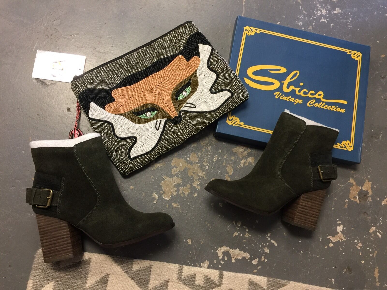 Sbicca Forest Green Boots Lorenza Lorenza Lorenza Size 7.5 Brand New Suede Cute Booties feaf73