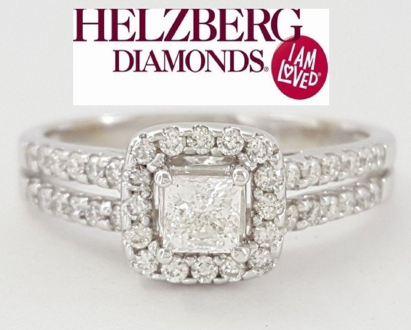 0.65 ct 14K White gold Helzberg Signature Square Diamond Halo Engagement Ring