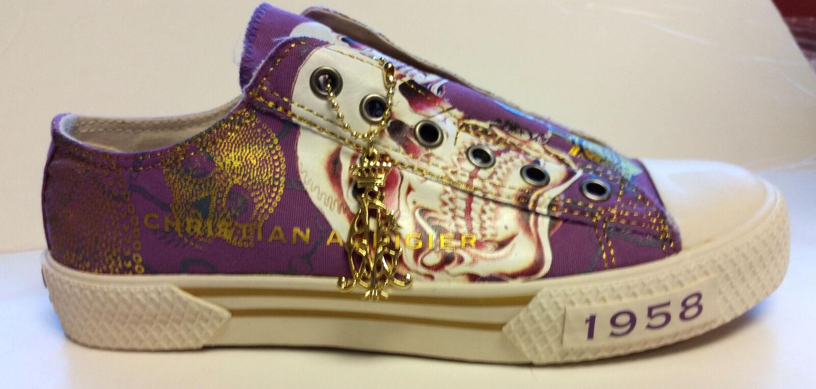 Wouomo Christian Audigier ED Hardy viola oro Slip on scarpe   negozio di sconto