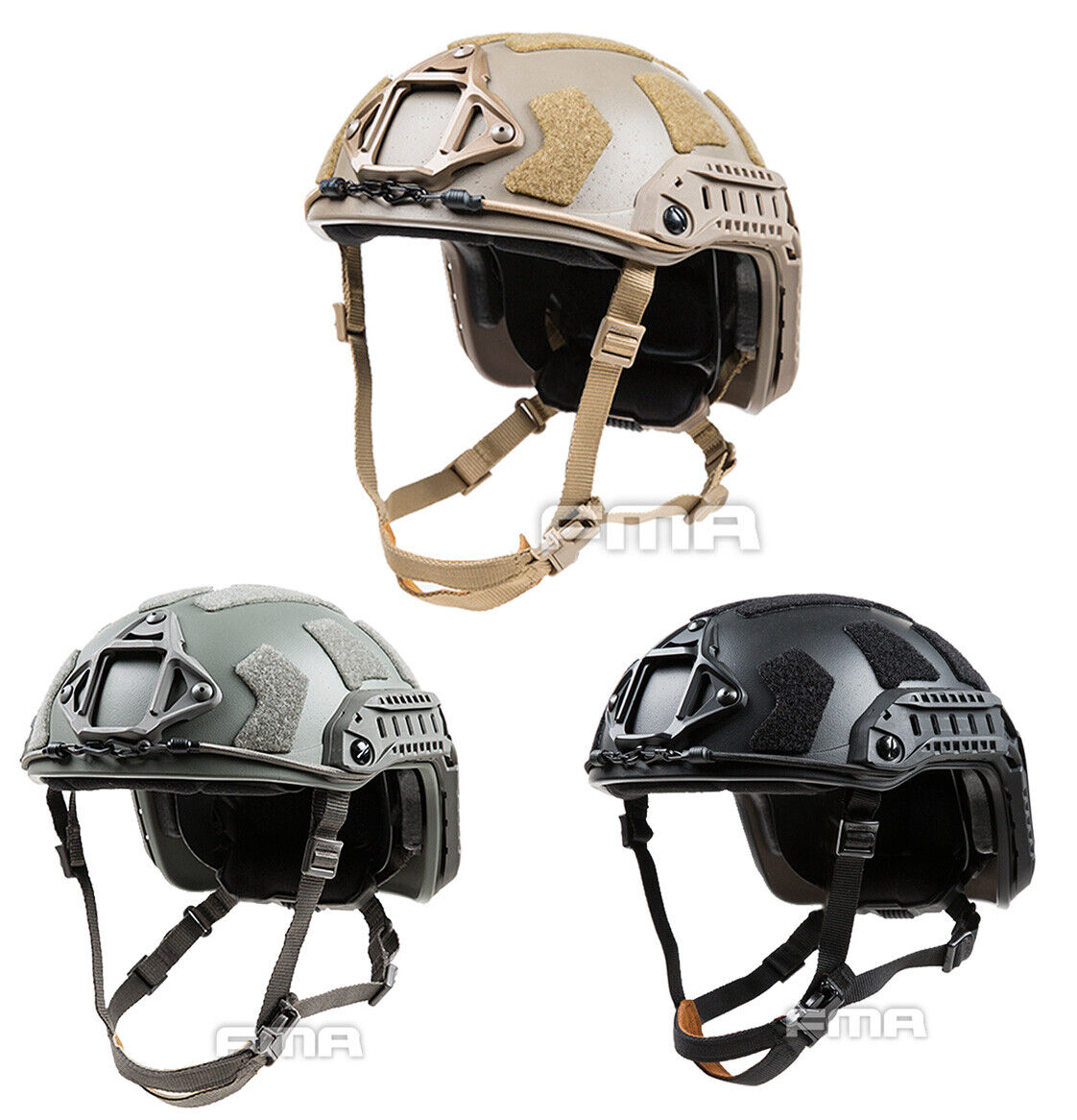 FMA SF Super Corte casco táctico airsoft paintball High TB1315B M L Negro   fija de engranaje DE