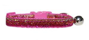 hecho-a-Mano-Tejido-Rosa-Oro-plata-brillo-seguridad-gato-collar-12-7-cm-17-8-cm