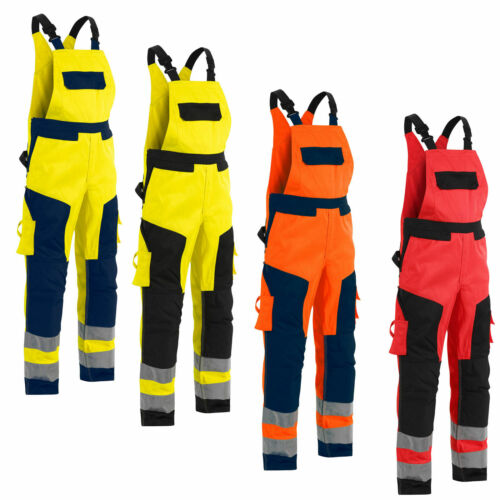 Blaklader High Visibility Bib Work Overalls with Knee Pad Pockets 2660