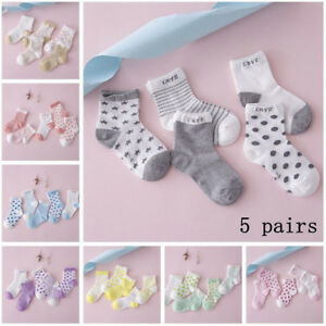 5 Pairs NewBorn Baby Boy Girl Cartoon Cotton Socks Infant Toddler Kids Cute Sock