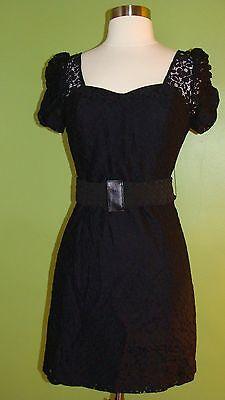 Guess, Black Cocktail Evening Floral Lace Short Mini Bodycon Dress , SZ 2