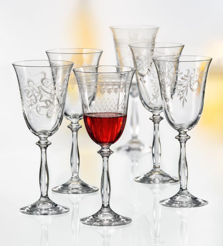 Les verres à vin, à Champagne, Alternateurs bohemia cristal, Model Royal, 6er Set