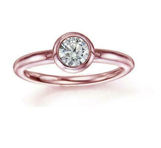 Round Cut Diamond 0.55 Ct Solitaire Engagement Ring 14Kt pink gold Bezel Setting