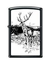 Zippo 218 buck with rack black & white artist print deer hunting Lighter