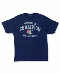 Champion-Authentic-Mens-Casual-T-Shirt-Sz-L-Navy-Blue-Short-Sleeve-T-Shirt