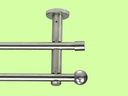 """Doppel Gardinenstange /""""Balo/"""" 16 mm Edelstahl Optik ab 100 bis 600 cm 1A Qualität"""