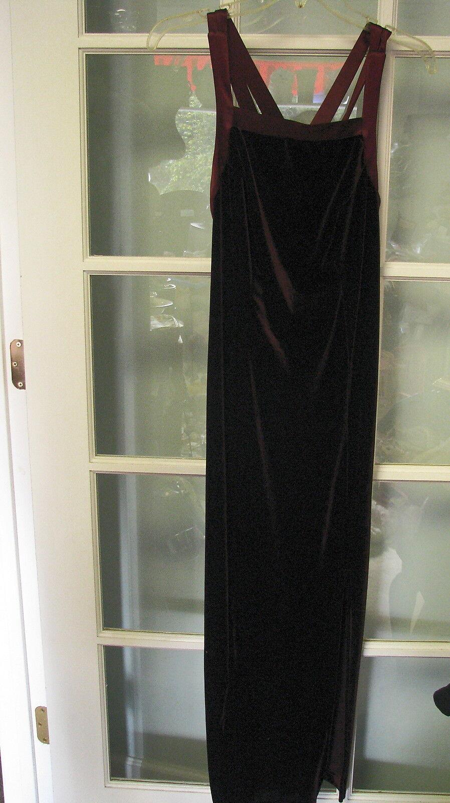 Ladies burgundy velour evening gown Größe 8 damen front strapless wine formal