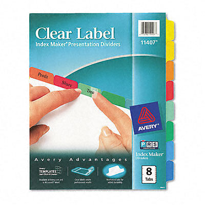 Avery 11407 Print /& Apply Clear Label Dividers 3 SETS 8 Tabs each