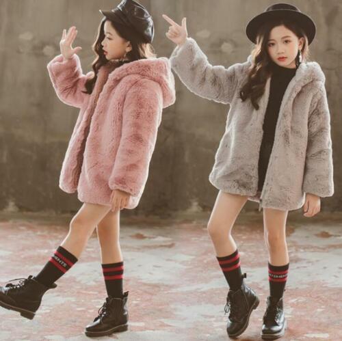 New Kids Children Warm Fleece Coats Girls Winter Faux Fur Jackets Outerwear gift