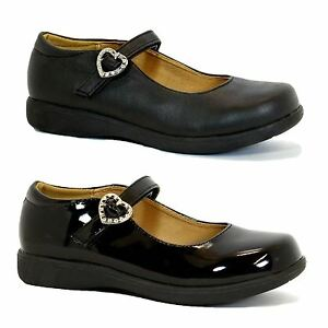 Girls children black school shoes girls