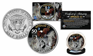 APOLLO-11-50th-Anniversary-Man-on-Moon-Genuine-JFK-Kennedy-Half-Dollar-US-Coin