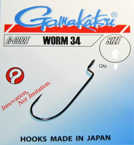 Gamakatsu Worm 34 Offset schwarz Gr.1-5//0 Raubfisch Drop Shot,Texas Rig Gummi
