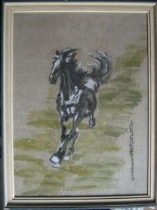 Dipinto-a-Olio-e-Inchiostro-Asia-Antico-Cavallo-Telaio-Caratteri-Fine-Lavoro