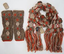 NWT NORDSTROM WOOL Blend Floral Knitted SCARF + Fingerless GLOVES SET ITALY