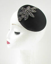 Black Dark Silver Beaded Fascinator Hair Clip Hat Vintage Art Deco Funeral 4AX