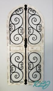 Details About Vintage French Country Distressed Wood Metal Garden Gate Arch Window Wall Decor
