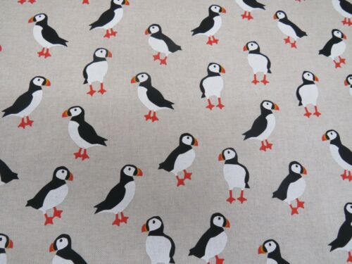 LATEST Designer Woodland Natural PUFFIN Birds Cotton Fabric Curtain Upholstery