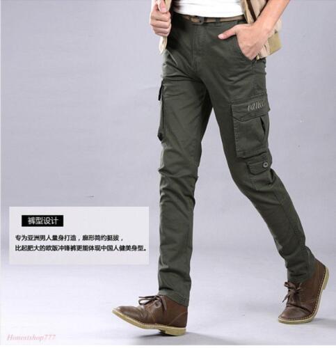 2019 Lavoro da Uomo Slim Fit Cargo Tuta Skinny Pantaloni Pantaloni Militari dei pacchetti x1