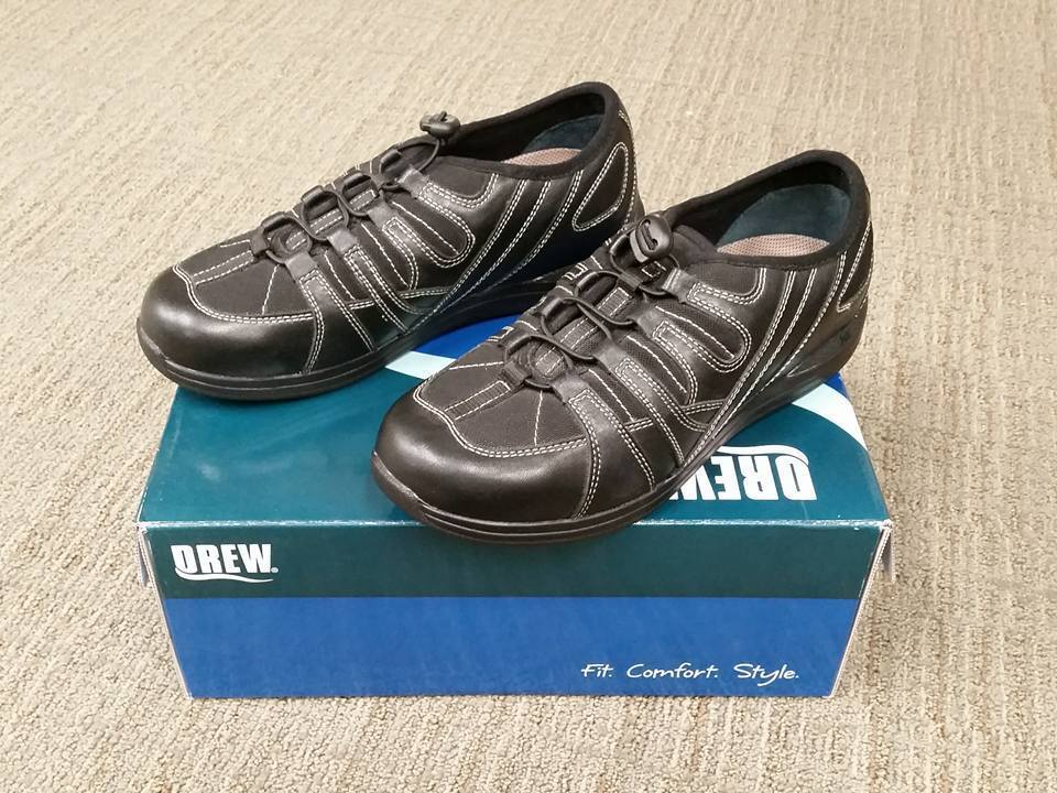 NIB Drew femmes noir Daisy 10209-19 Casual Chaussures Bungee Laces