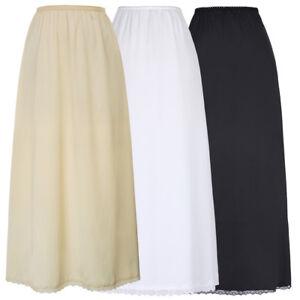 Maxi-Dress-Undergarment-Prom-Slip-Petticoat-Half-Satin-Waist-Long-Underskirt