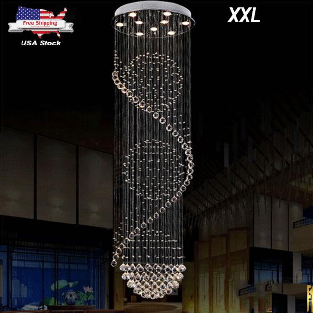 Modern Glass Spiral Lighting Drop Chandelier Crystal Pendant Lamp Ceiling Light