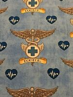 What The Dr Ordered 100% Cotton Fabric Yard Medical Doctor Theme Fabric Blue