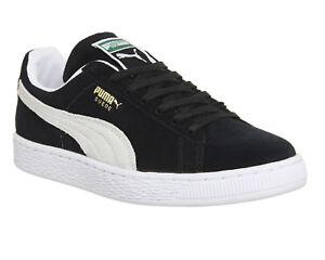 Men s Puma Suede Classic + Black Suede Retro Fashion Trainers UK ... 61f4fc851