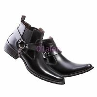 Mens Leather Oxfords Style Punk Pointy Toe Low Block Heel ANkle Boots Goth Chain
