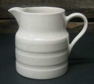 """Vintage Lord Nelson Pottery English Creamware Pitcher Jug vase Ringed 5-3/4"""" 1 L"""