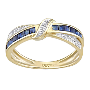 9ct Gold Blue Sapphire & Diamond Crossover Ring size J