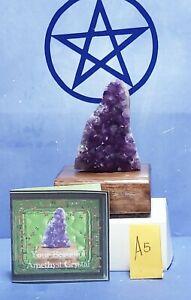 Amethyst Power Crystal Cluster on Oak Base, Quartz Crystal, Wiccan, Chakra,