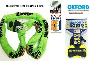 Motorcycle-1-8m-Chain-Lock-Mammoth-Sold-Secure-with-Oxford-Boss-Disc-Lock-16mm
