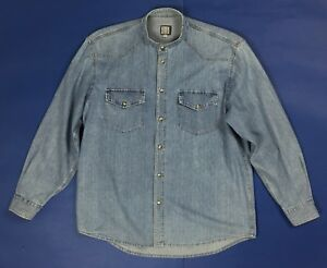 Blue-side-jeans-camicie-jeans-uomo-usato-L-shirt-manica-lunga-blu-denim-T4113
