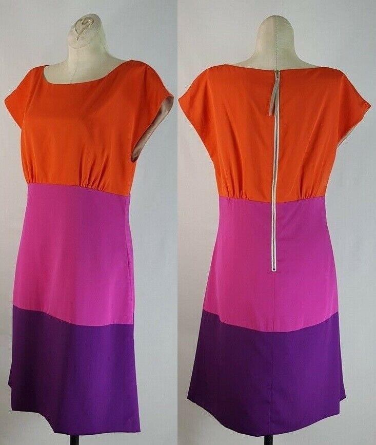 Eliza J color Tri Stripe Dress Size 8 Women's orange Pink Purple Striped Shift