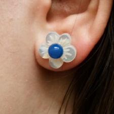 Ohrklemmen Ohrhänger Kirschblumen echt Silber 925 Perlmutt Ohrringe Damen Blume