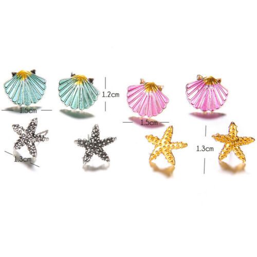 4Pairs//Set Starfish Shell Ear Stud Earrings Wedding Bohemian Beach Jewelry HQ